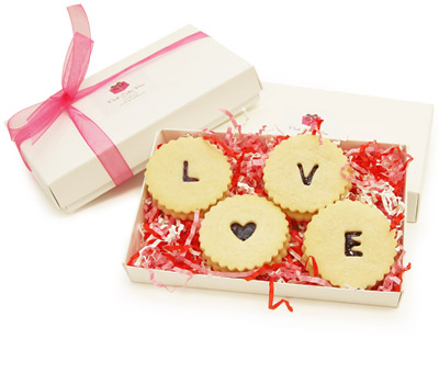 Raspberry Shortbread LOVE cookies